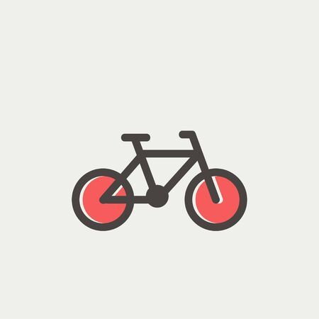 Web とモバイルでモダンなミニマルなフラット デザインの自転車アイコン細い線。暗い灰色のアウトラインとライトグレーの背景にオフセット カラ