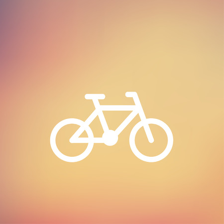 vector cartoons: Bicycle icon thin line for web and mobile, modern minimalistic flat design. Vector white icon on gradient mesh background. Illustration