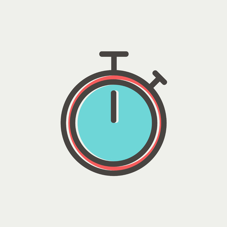 stop light: Stop watch icon thin line for web and mobile, modern minimalistic flat design. Vector icon with dark grey outline and offset colour on light grey background.