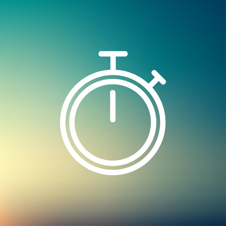 Stop watch icon thin line for web and mobile, modern minimalistic flat design. Vector white icon on gradient mesh background.