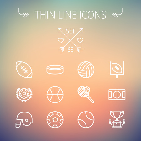 Sports thin line icon set for web and mobile. Set includes- volleyball, basketball, hockey puck, tennis, soccer, football, trophy, helmet icons. Modern minimalistic flat design. Vector white icon on gradient mesh background. Illustration