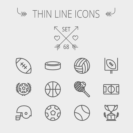 web icons: Sports thin line icon set for web and mobile. Set includes- volleyball, basketball, hockey puck, tennis, soccer, football, trophy, helmet icons. Modern minimalistic flat design. Vector dark grey icon on light grey background. Illustration