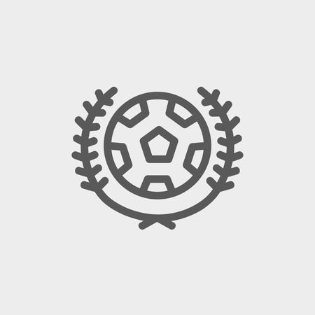 varsity: Sports soccer logo badges icon thin line for web and mobile, modern minimalistic flat design. Vector dark grey icon on light grey background.