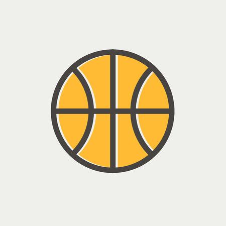 ballon basketball: Basket ball ic�ne fine ligne pour le web et mobile, design plat moderne et minimaliste. Vector ic�ne avec un contour gris fonc� et offset couleur sur fond gris clair. Illustration