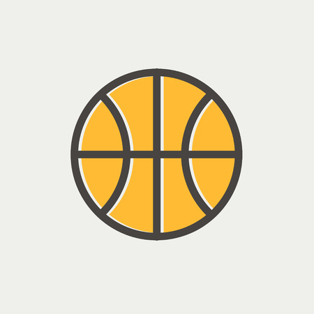 Basketball ball icon thin line for web and mobile, modern minimalistic flat design. Vector icon with dark grey outline and offset colour on light grey background.