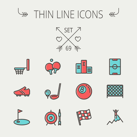 Sports thin line icon set for web and mobile. Set includes -soccer field, soccer shoes, golf flag, target and arrow, ping-pong, podium, skiing icons. Modern minimalistic flat design. Vector icon with dark grey outline and offset colour on light grey backg Vector