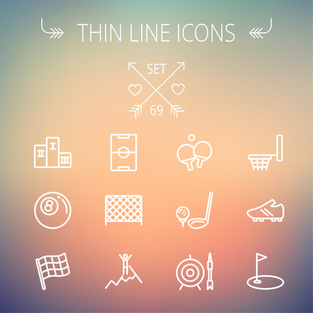 Sports thin line icon set for web and mobile. Set includes-soccer field, soccer shoes, golf flag, target and arrow, ping-pong, podium, skiing icons. Modern minimalistic flat design. Vector white icon on gradient mesh background.