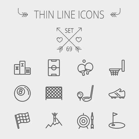 Sports thin line icon set for web and mobile. Set includes-soccer field, soccer shoes, golf flag, target and arrow, ping-pong, podium, skiing icons. Modern minimalistic flat design. Vector dark grey icon on light grey background.