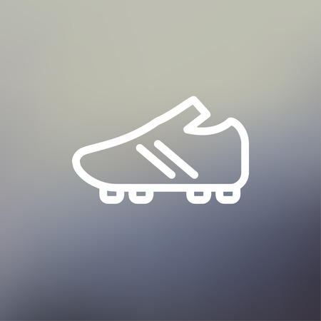 Soccer shoes icon thin line for web and mobile, modern minimalistic flat design. Vector white icon on gradient mesh background. Vector