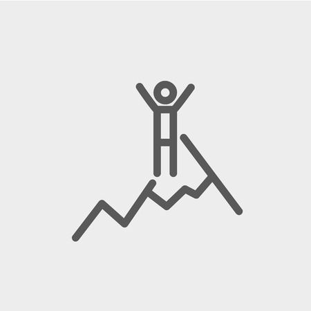 Skiing in ice mountain icon thin line for web and mobile, modern minimalistic flat design. Vector dark grey icon on light grey background.