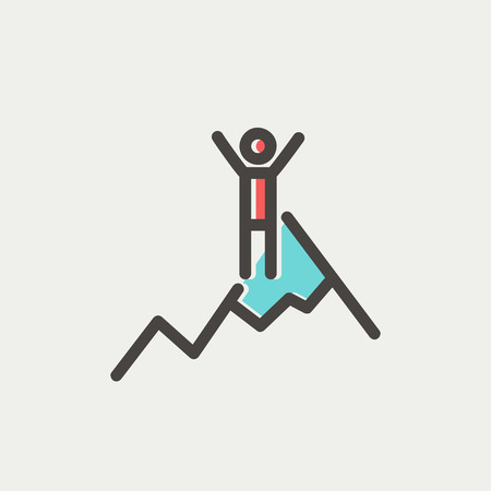 mountain pass: Skiing in ice mountain icon thin line for web and mobile, modern minimalistic flat design. Vector icon with dark grey outline and offset colour on light grey background.