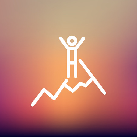 Skiing in ice mountain icon thin line for web and mobile, modern minimalistic flat design. Vector white icon on gradient mesh background.
