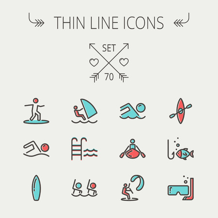 kayak: Sports thin line icon set for web and mobile. Set includes -wind surfing, pool, swimming, surfboarding, kayak, wind surf, snorkeling, fishing icons. Modern minimalistic flat design. Vector icon with dark grey outline and offset colour on light grey backgr