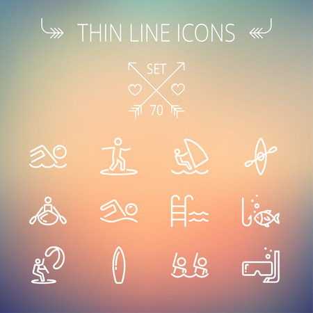 Sports thin line icon set for web and mobile. Set includes- wind surfing, pool, swimming, surfboarding, kayak, wind surf, snorkeling, fishing icons. Modern minimalistic flat design. Vector white icon on gradient mesh background.