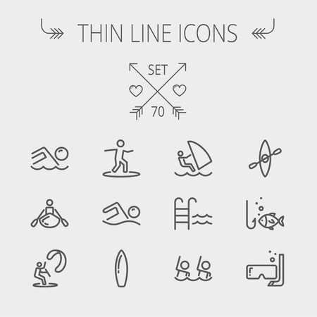 wind surfing: Sports thin line icon set for web and mobile. Set includes- wind surfing, pool, swimming, surfboarding, kayak, wind surf, snorkeling, fishing icons. Modern minimalistic flat design. Vector dark grey icon on light grey background. Illustration