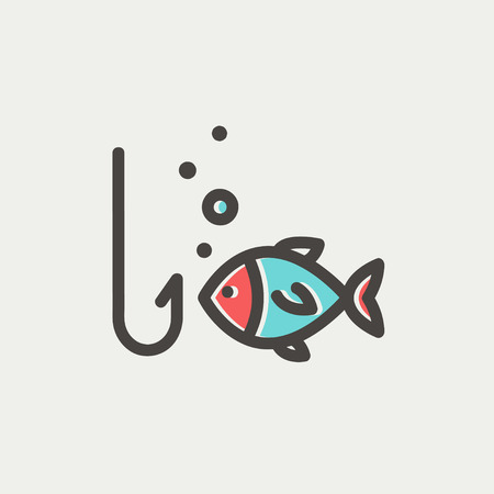 fishhook: Fish is looking on a fish hook icon thin line for web and mobile, modern minimalistic flat design. Vector icon with dark grey outline and offset colour on light grey background. Illustration