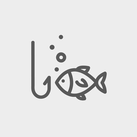 fishhook: Fish is looking on a fish hook icon thin line for web and mobile, modern minimalistic flat design. Vector dark grey icon on light grey background.