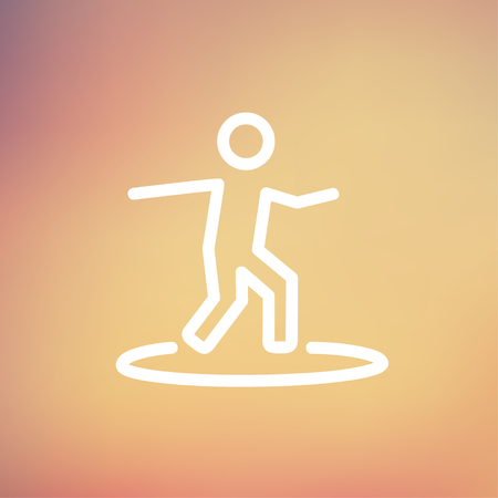 surf vector: Boy on the surf board icon thin line for web and mobile, modern minimalistic flat design. Vector white icon on gradient mesh background.