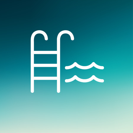 hand rail: Swimming pool ladder icon thin line for web and mobile, modern minimalistic flat design. Vector white icon on gradient mesh background.