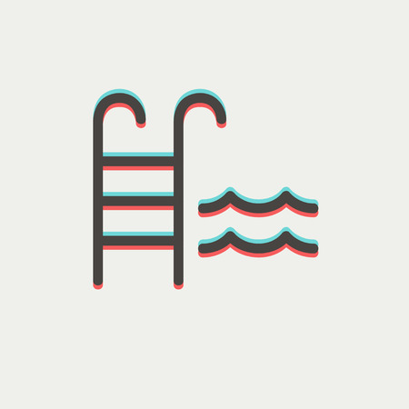 ladder: Swimming pool ladder icon thin line for web and mobile, modern minimalistic flat design. Vector icon with dark grey outline and offset colour on light grey background.