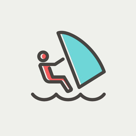 Wind surfing icon thin line for web and mobile, modern minimalistic flat design. Vector icon with dark grey outline and offset colour on light grey background.