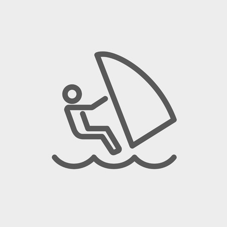 wind surfing: Wind surfing icon thin line for web and mobile, modern minimalistic flat design. Vector dark grey icon on light grey background.