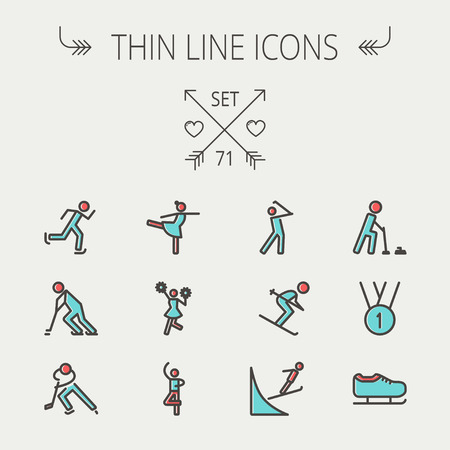 1st place: Sports thin line icon set for web and mobile. Set includes -1st place medal, ice skate, skiing, golf, hockey, ballet, running, cheerleader icons. Modern minimalistic flat design. Vector icon with dark grey outline and offset colour on light grey backgroun Illustration