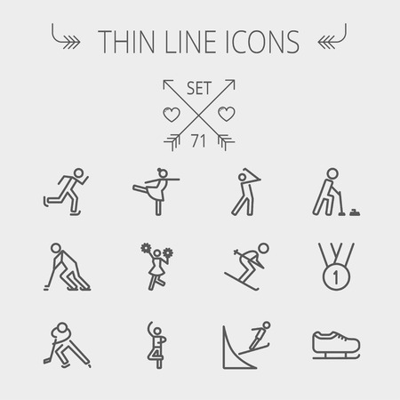 Sports thin line icon set for web and mobile. Set includes-1st place medal, ice skate, skiing, golf, hockey, ballet, running, cheerleader icons. Modern minimalistic flat design. Vector dark grey icon on light grey background.  イラスト・ベクター素材