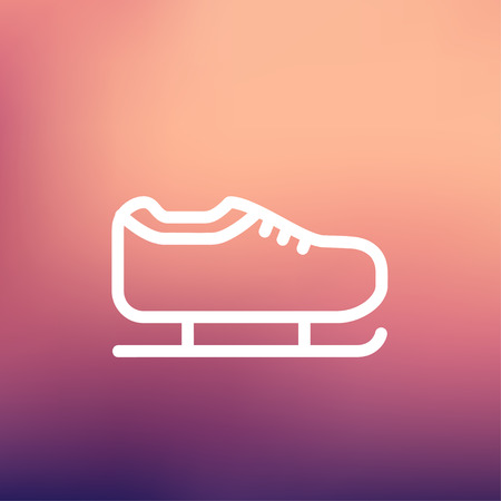 skating on thin ice: Ice skate icon thin line for web and mobile, modern minimalistic flat design. Vector white icon on gradient mesh background. Illustration