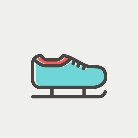 skating on thin ice: Ice skate icon thin line for web and mobile, modern minimalistic flat design. Vector icon with dark grey outline and offset colour on light grey background.