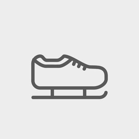 skating on thin ice: Ice skate icon thin line for web and mobile, modern minimalistic flat design. Vector dark grey icon on light grey background.