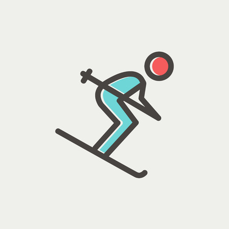 downhill skiing: Downhill skiing icon thin line for web and mobile, modern minimalistic flat design. Vector icon with dark grey outline and offset colour on light grey background. Illustration