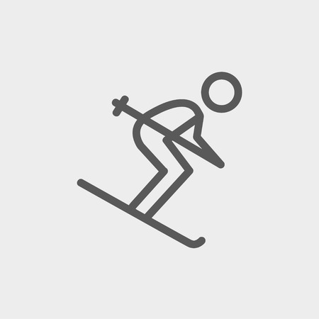 downhill skiing: Downhill skiing icon thin line for web and mobile, modern minimalistic flat design. Vector dark grey icon on light grey background. Illustration