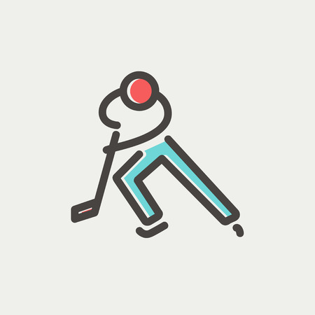 skating on thin ice: Moving hockey player icon thin line for web and mobile, modern minimalistic flat design. Vector icon with dark grey outline and offset colour on light grey background. Illustration