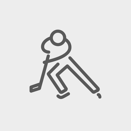 skating on thin ice: Moving hockey player icon thin line for web and mobile, modern minimalistic flat design. Vector dark grey icon on light grey background.