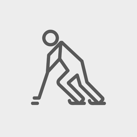 Hockey player pushing the puck icon thin line for web and mobile, modern minimalistic flat design. Vector dark grey icon on light grey background.