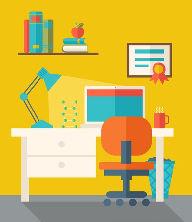 student computer: Office Space with computer, table, lamp, and chair. . A Contemporary style with pastel palette, dark yellow tinted background. Vector flat design illustration. Square layout.