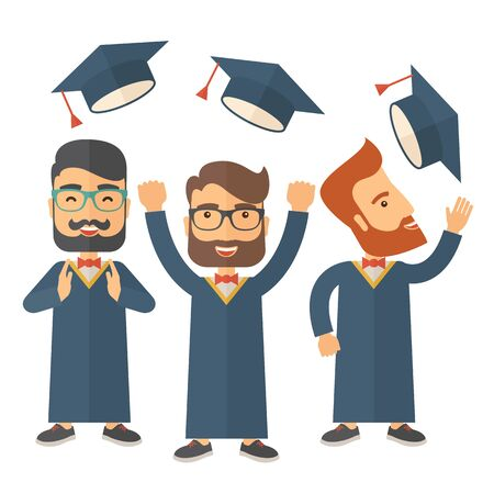 three men: A smiling three men throwing graduation cap in the air. A Contemporary style. Vector flat design illustration isolated white background. Square layout Illustration