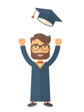 undergraduate: A happy man throwing the graduation cap in the air. A Contemporary style. Vector flat design illustration isolated white background. Vertical layout