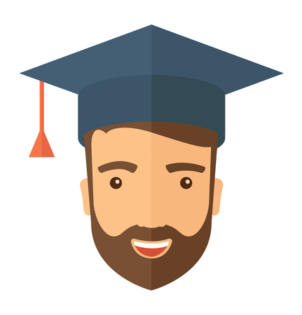 final college: A smiling male head with graduation cap. A Contemporary style. Vector flat design illustration isolated white background. Square layout Illustration