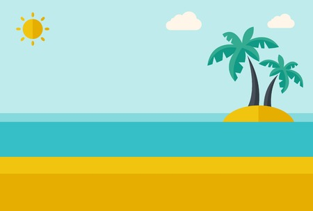 A tropical sea island with palm trees and sun. A Contemporary style with pastel palette, soft blue tinted background with desaturated clouds. Vector flat design illustration. Horizontal layout.