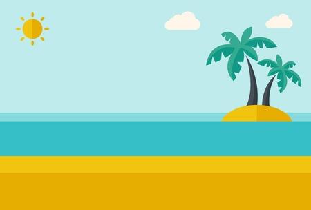 Une île de la mer tropical avec des palmiers et le soleil. Un style contemporain avec palette pastel, fond teinté bleu tendre avec des nuages ??désaturées. Vector design plat illustration. Disposition horizontale. Banque d'images - 40279698