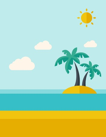 tinted: A tropical sea island with palm trees and sun. A Contemporary style with pastel palette, soft blue tinted background with desaturated clouds. Vector flat design illustration. Vertical layout.