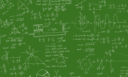 mathematical proof: A blackboard with algebra formula. A Contemporary style. Vector flat design illustration isolated green background. Square layout