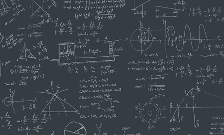 A blackboard with algebra formula. A Contemporary style. Vector flat design illustration isolated black background. Square layout