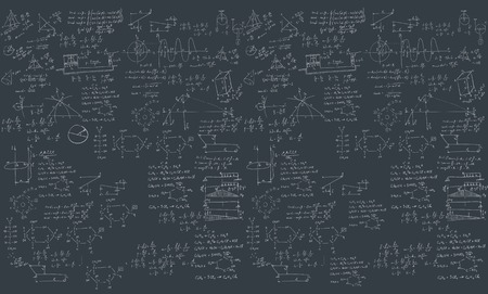 A blackboard with mechanical formula. A Contemporary style. Vector flat design illustration isolated black background. Horizontal layout