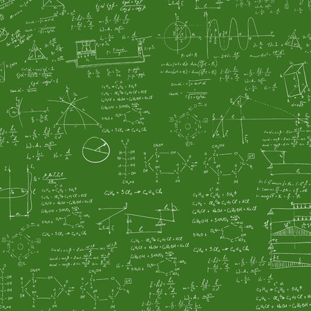 derivation: A blackboard with mechanical formula. A Contemporary style. Vector flat design illustration isolated green background. Square layout