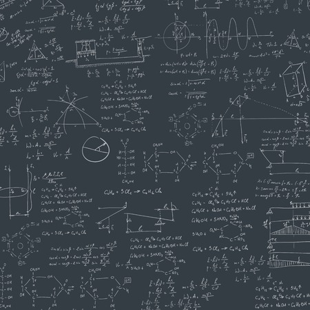 scalar: A blackboard with mechanical formula. A Contemporary style. Vector flat design illustration isolated black background. Square layout Illustration