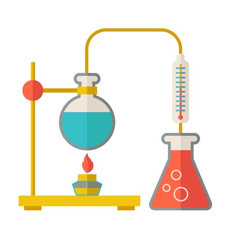 A laboratory glassware use for experiment.  A Contemporary style. Vector flat design illustration isolated white background. Square layout Illustration