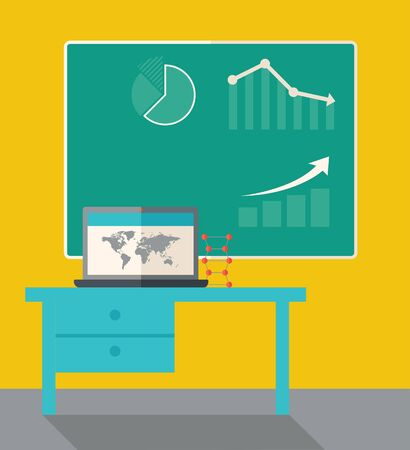 tinted: A blackboard with hand drawn growing bar graph, a table and laptop on the top. A Contemporary style with pastel palette, dark yellow tinted background. Vector flat design illustration. Square layout.